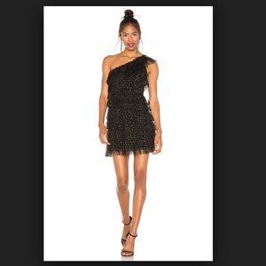 BCBG MAX AZRIA one shoulder ruffle cocktail dress